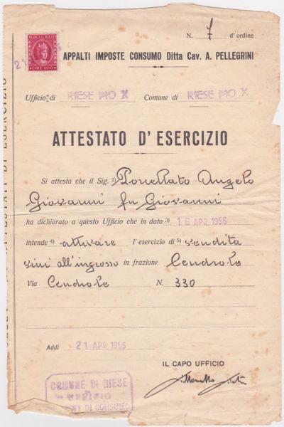 Licenza di esercizio vendita vini '56